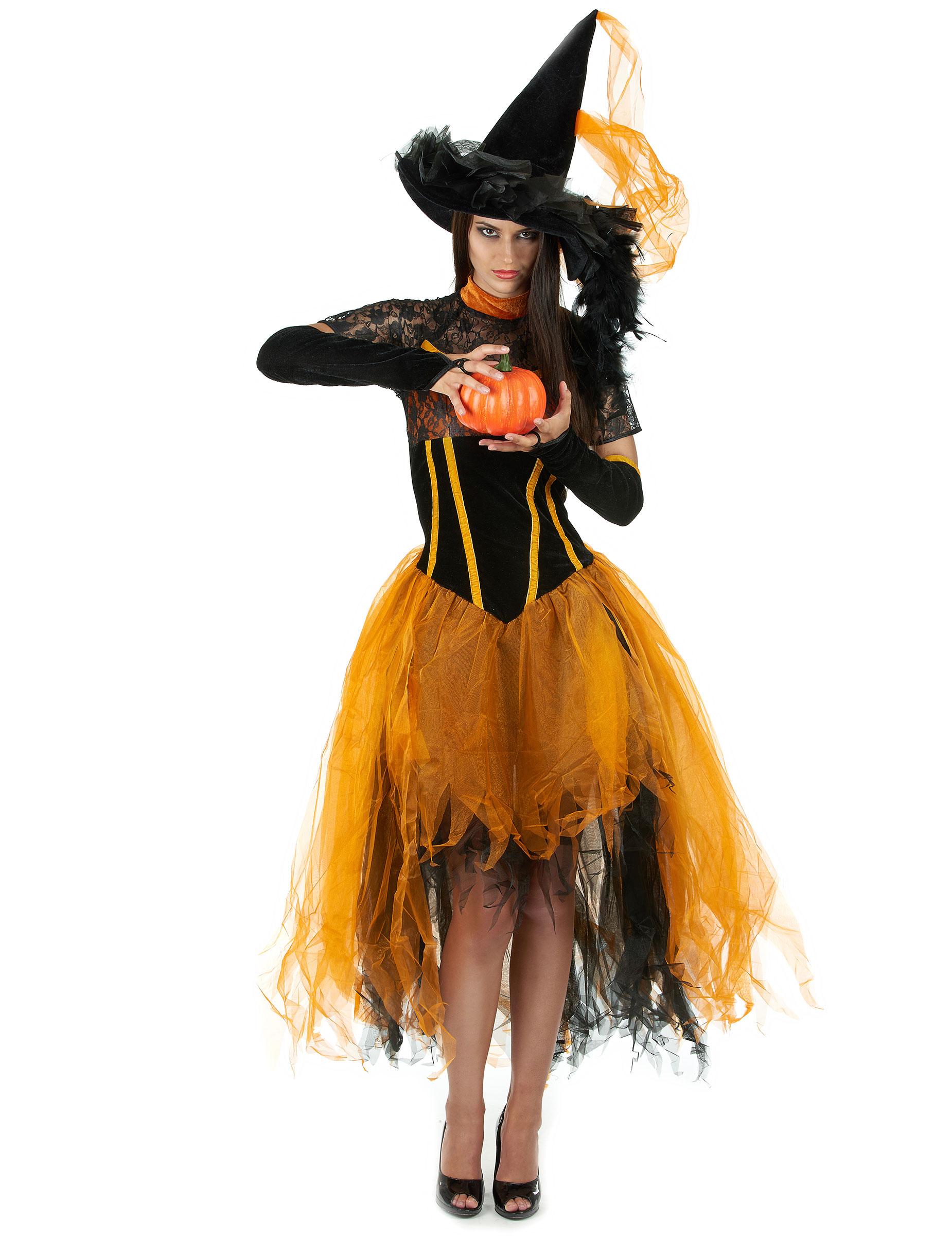Costume strega arancione e nero Halloween donna su VegaooParty ... f074ac7d2800