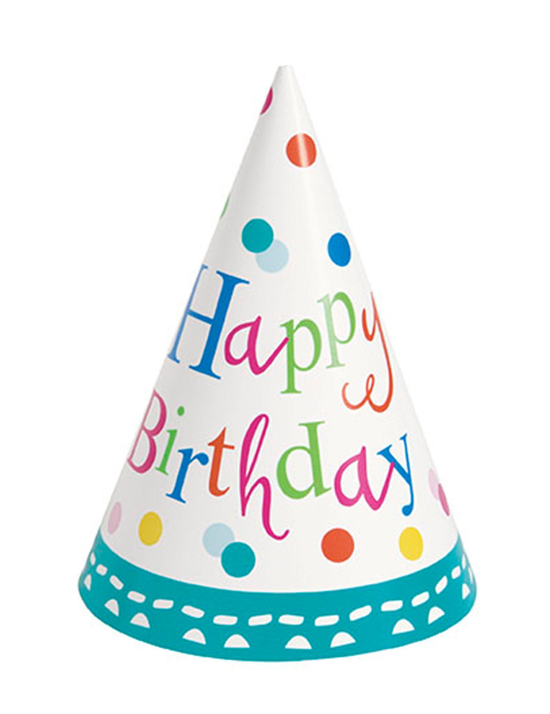8 cappellini a cono per feste Happy Birthday su VegaooParty 2edaa1c1d15e