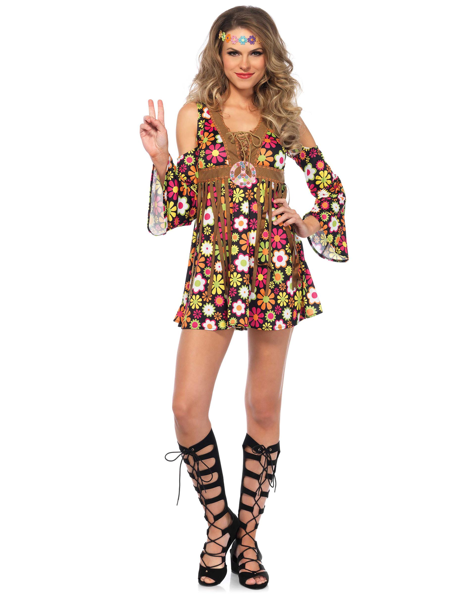 6faf2e8668c6 Vestito hippie figlia dei fiori su VegaooParty