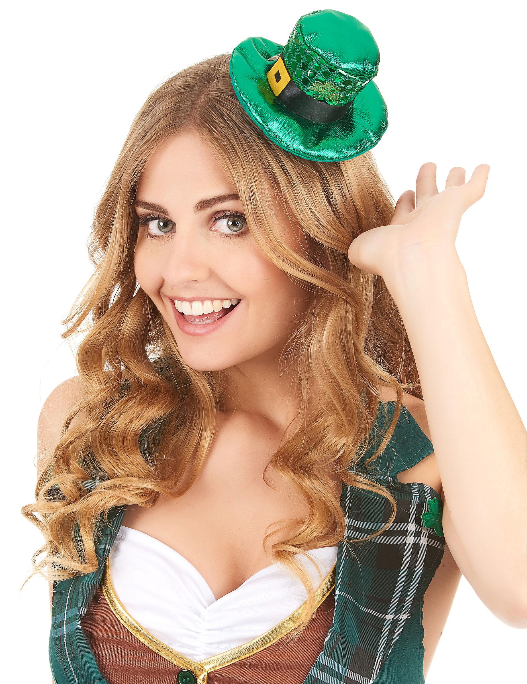 Mini cappello verde con paillettes San Patrizio per adulto su ... 0e8b9b39cf2a