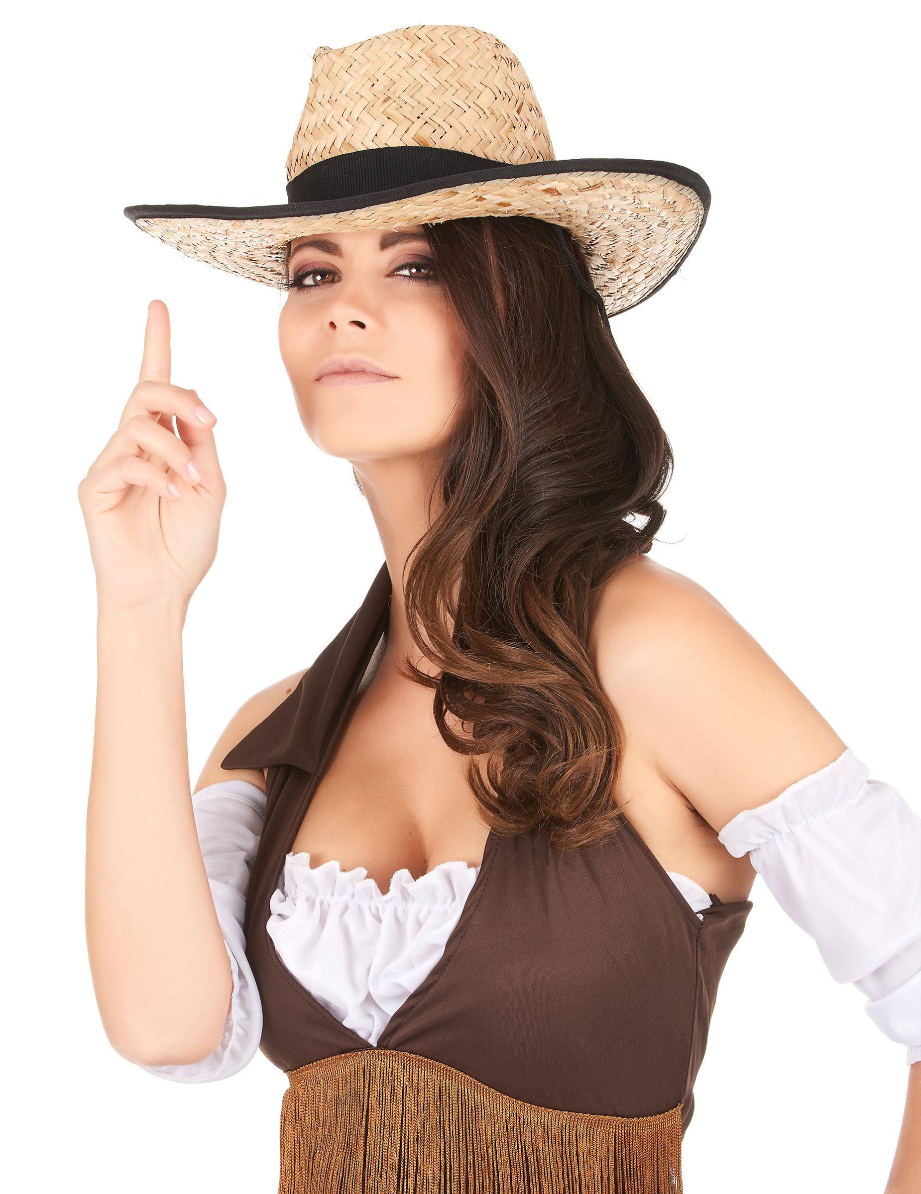 Cappello cowboy con fascia e bordi neri adulto su VegaooParty ... 9570e593a83e