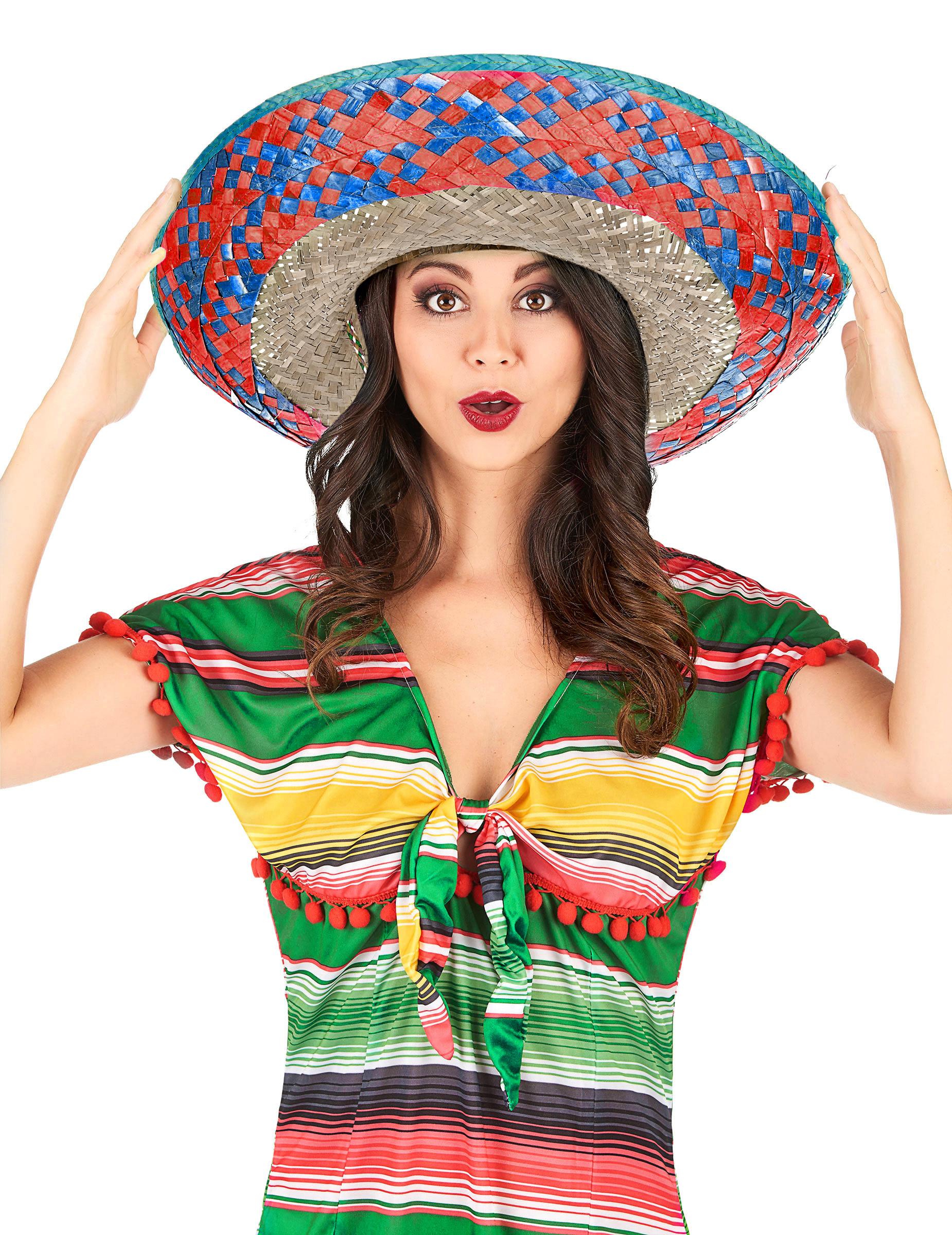 Sombrero messicano con bordi blu e rosa per adulto su VegaooParty ... 5a004349524f
