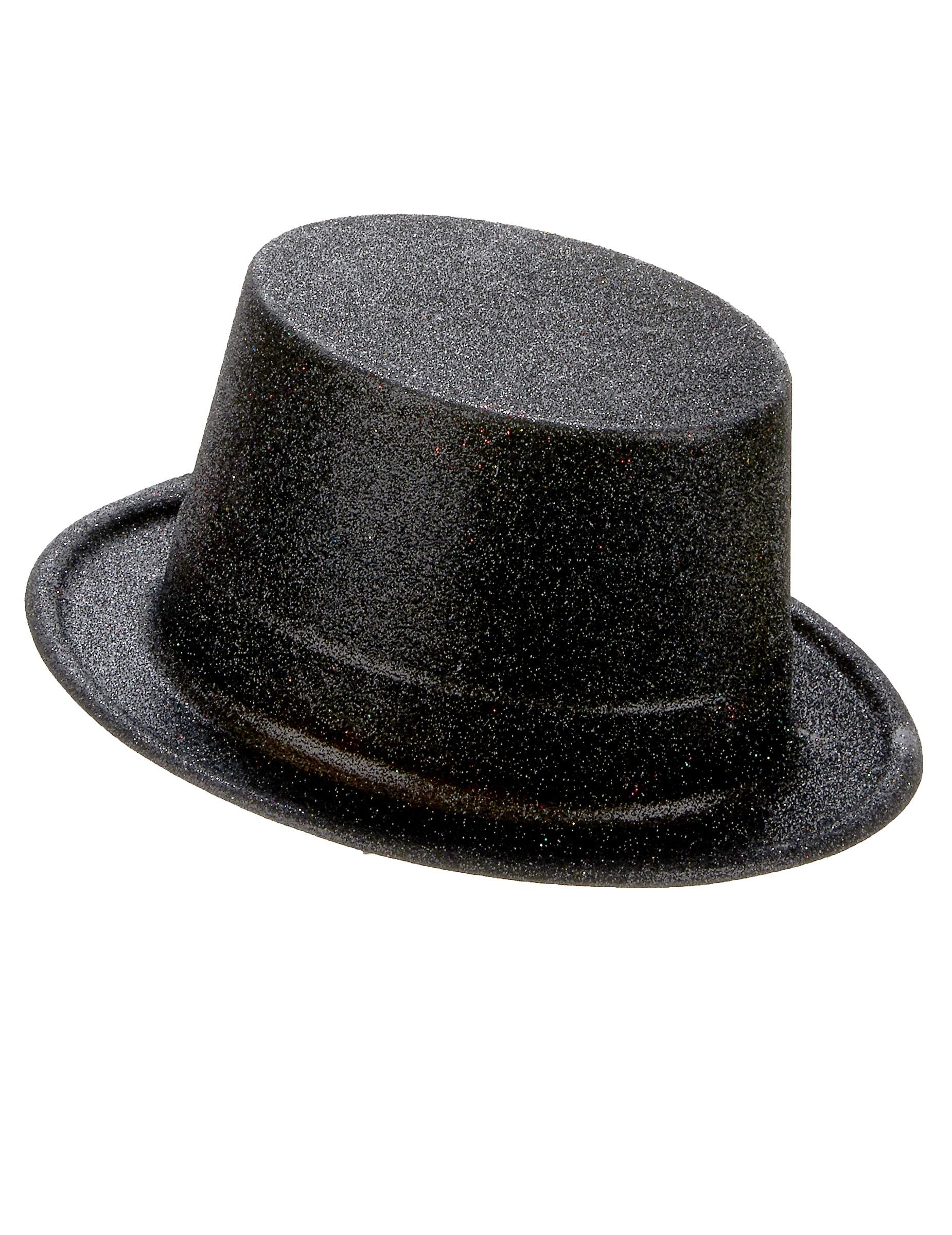 Cappello a cilindro brillantini neri su VegaooParty fe11d84ac6a5