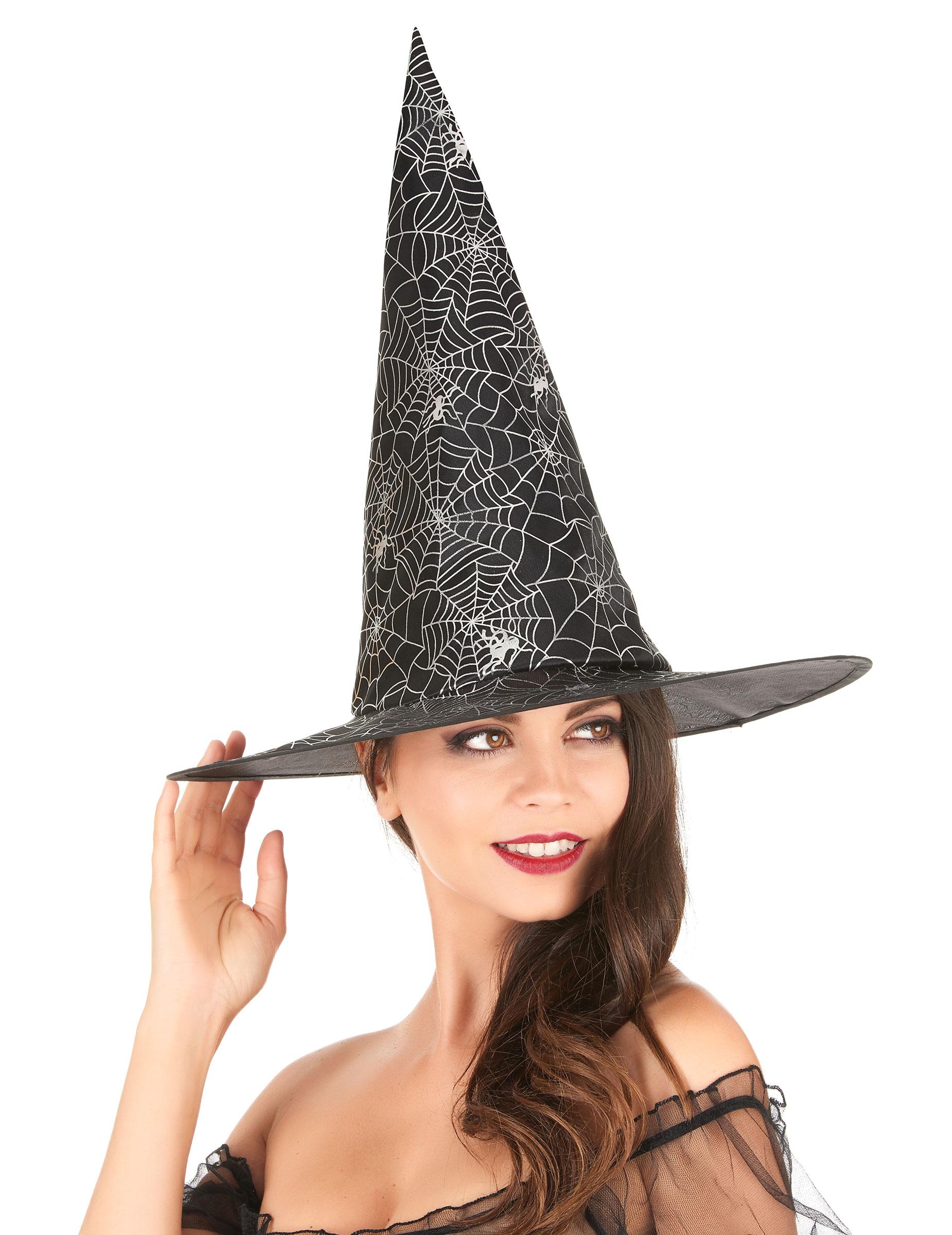 Cappello da strega nero con ragnatele adulto su VegaooParty e927af8a303a