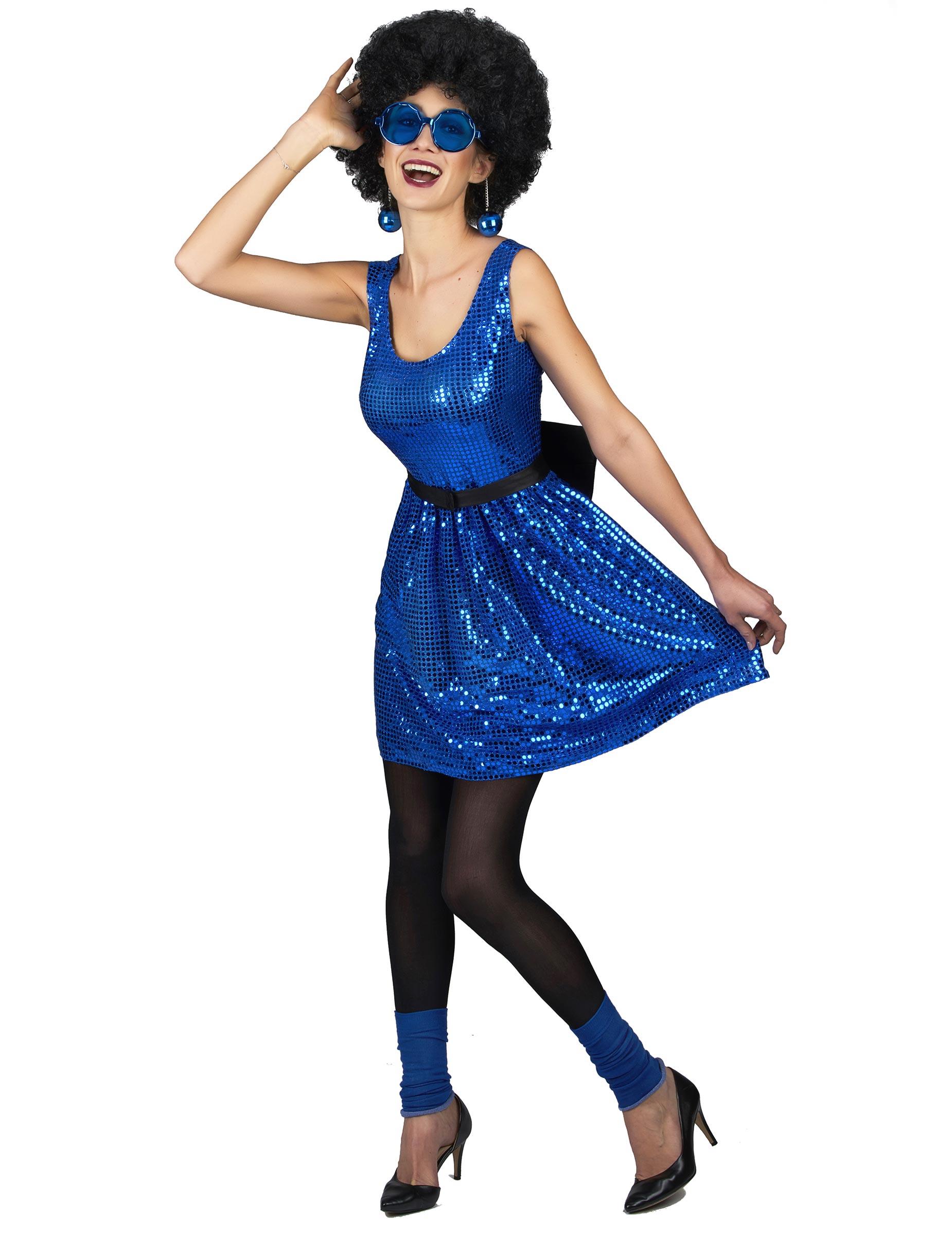 Costume disco con paillettes blu da donna su VegaooParty 1211278449f2