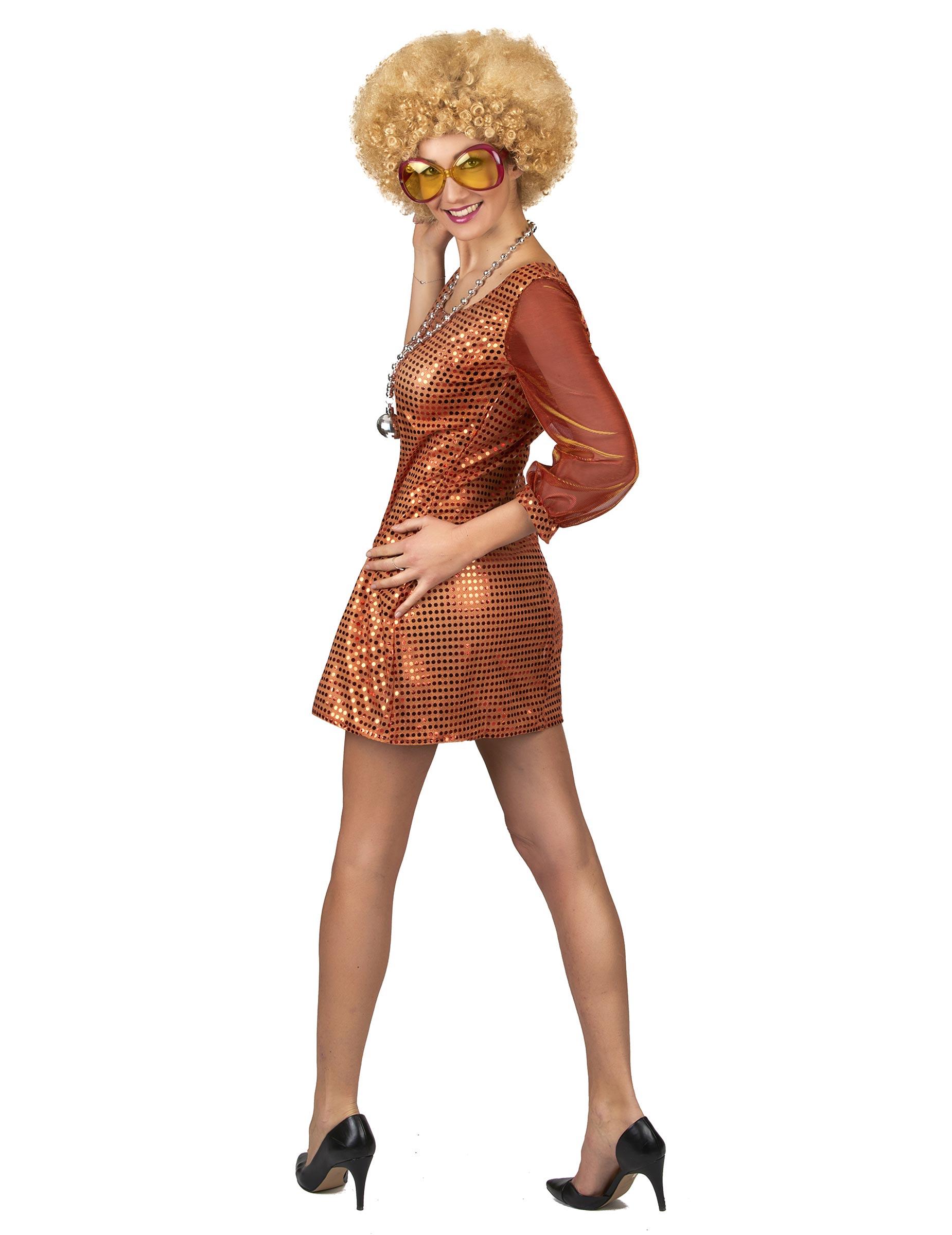 Costume arancione tema disco con paillettes da donna su VegaooParty ... 2d84f9cd7d27