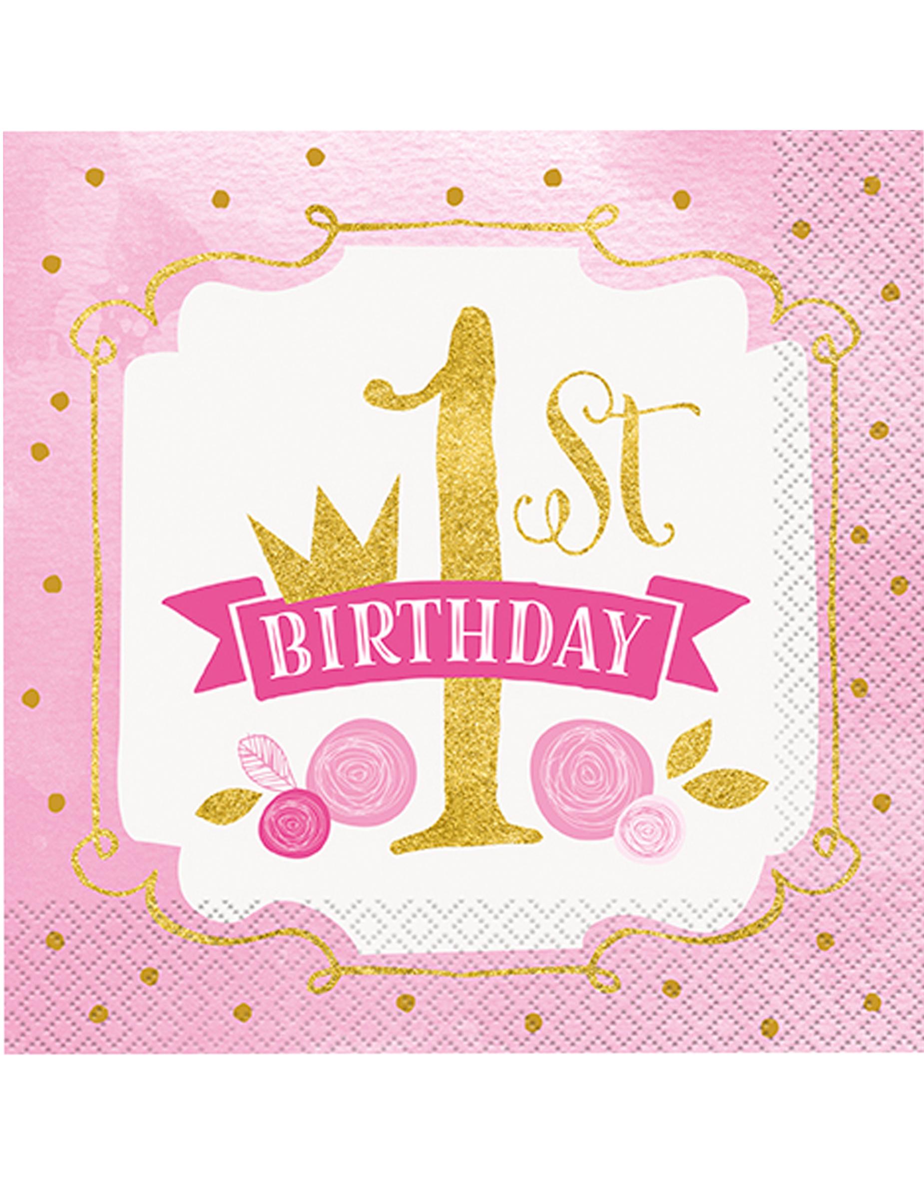 16 Tovaglioli Di Carta Rosa E Oro 1 Compleanno Su Vegaooparty