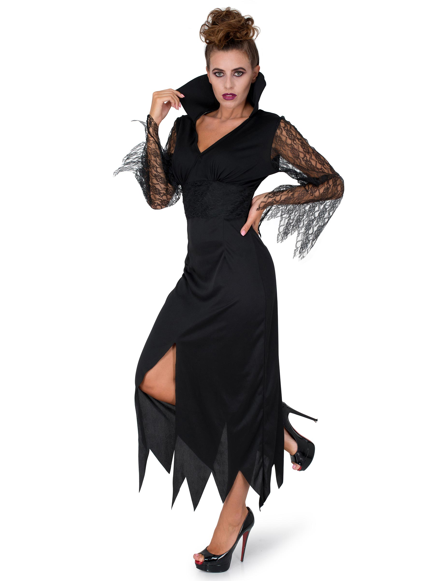 Costume strega in pizzo nero da donna Halloween su VegaooParty ... 6e5ec3107018