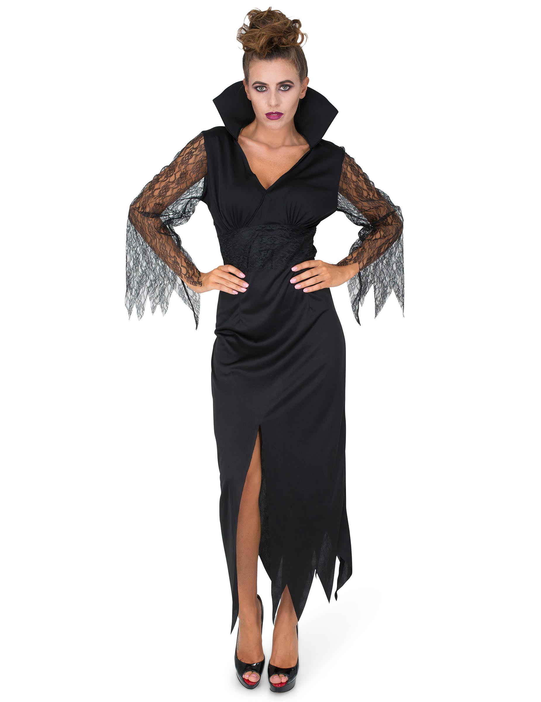 Costume strega in pizzo nero da donna Halloween su VegaooParty ... 83f39caa5430