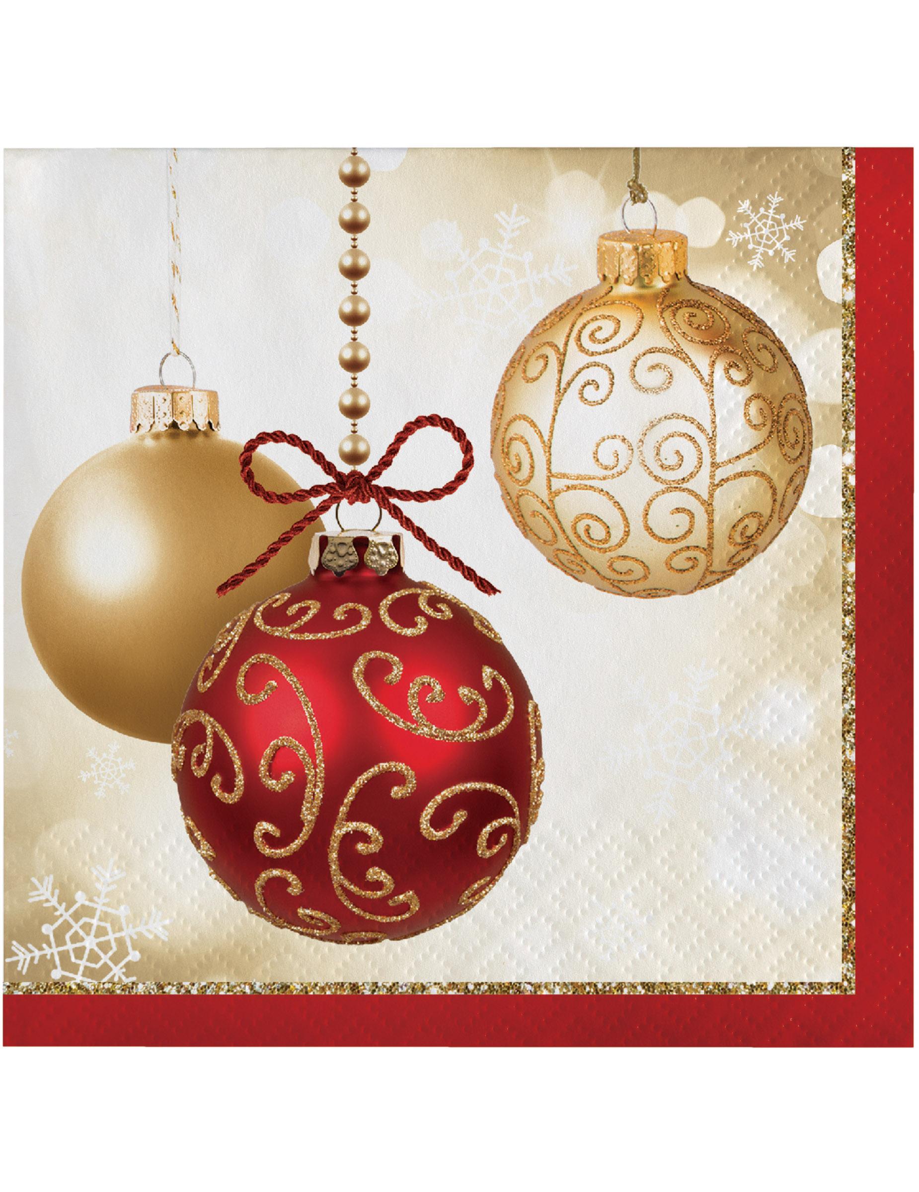 Immagini Natale Oro.16 Tovagliolini Di Carta Palline Di Natale Oro E Rosse Su Vegaooparty Negozio Di Articoli Per Feste