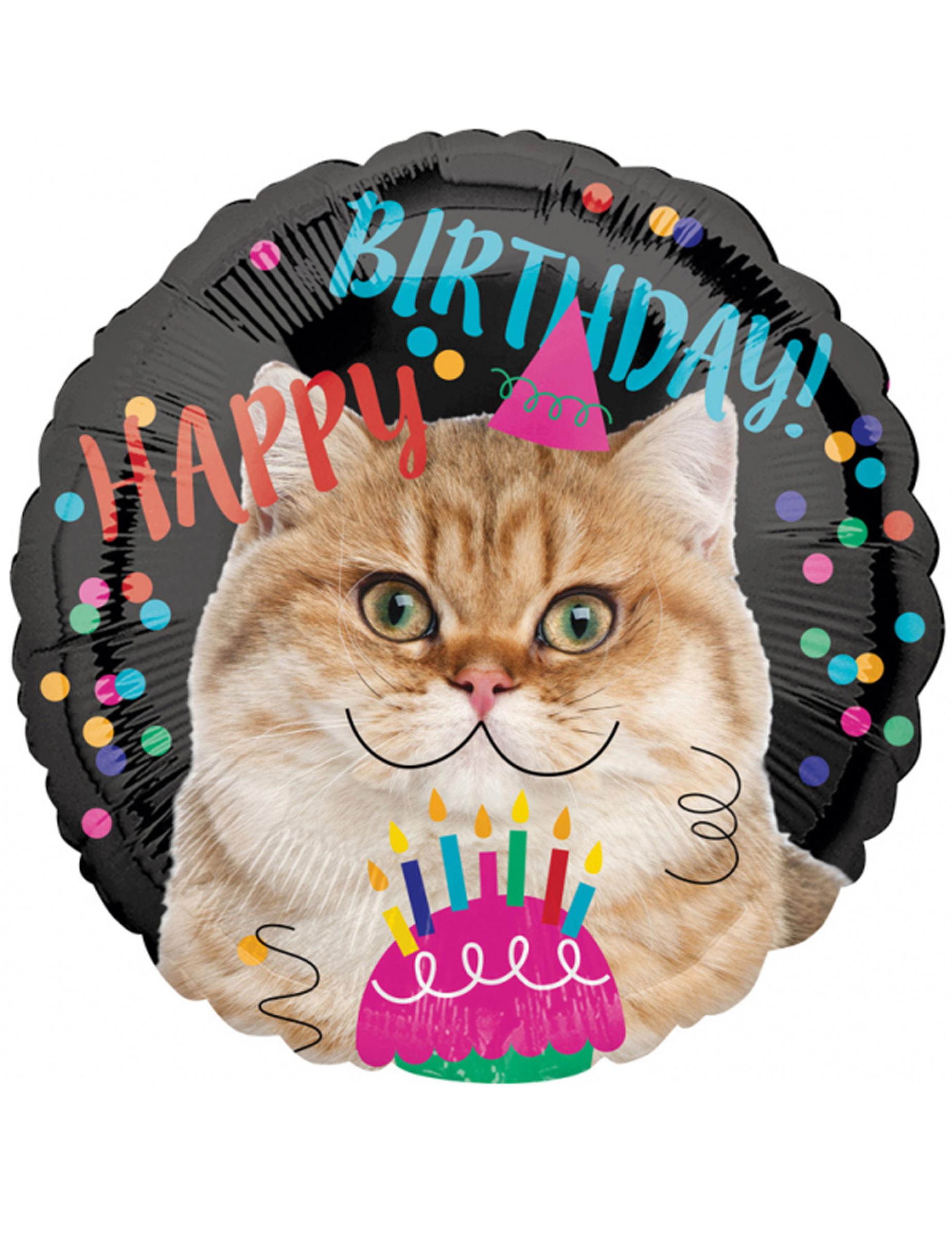 Palloncino alluminio Happy Birthday gatto