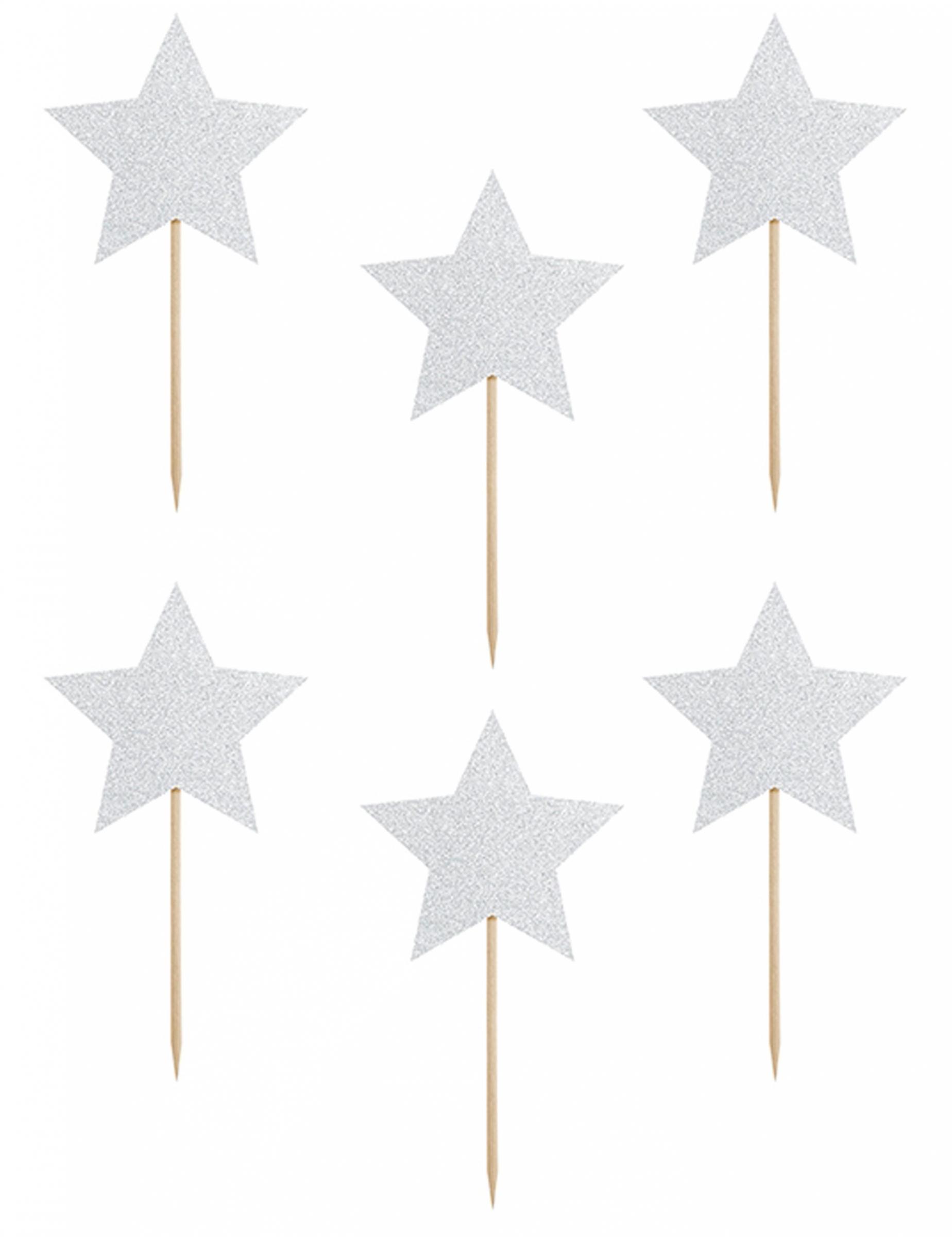 Matrimonio Tema Brillantini : Decorazioni per torta stelle argento con brillantini su