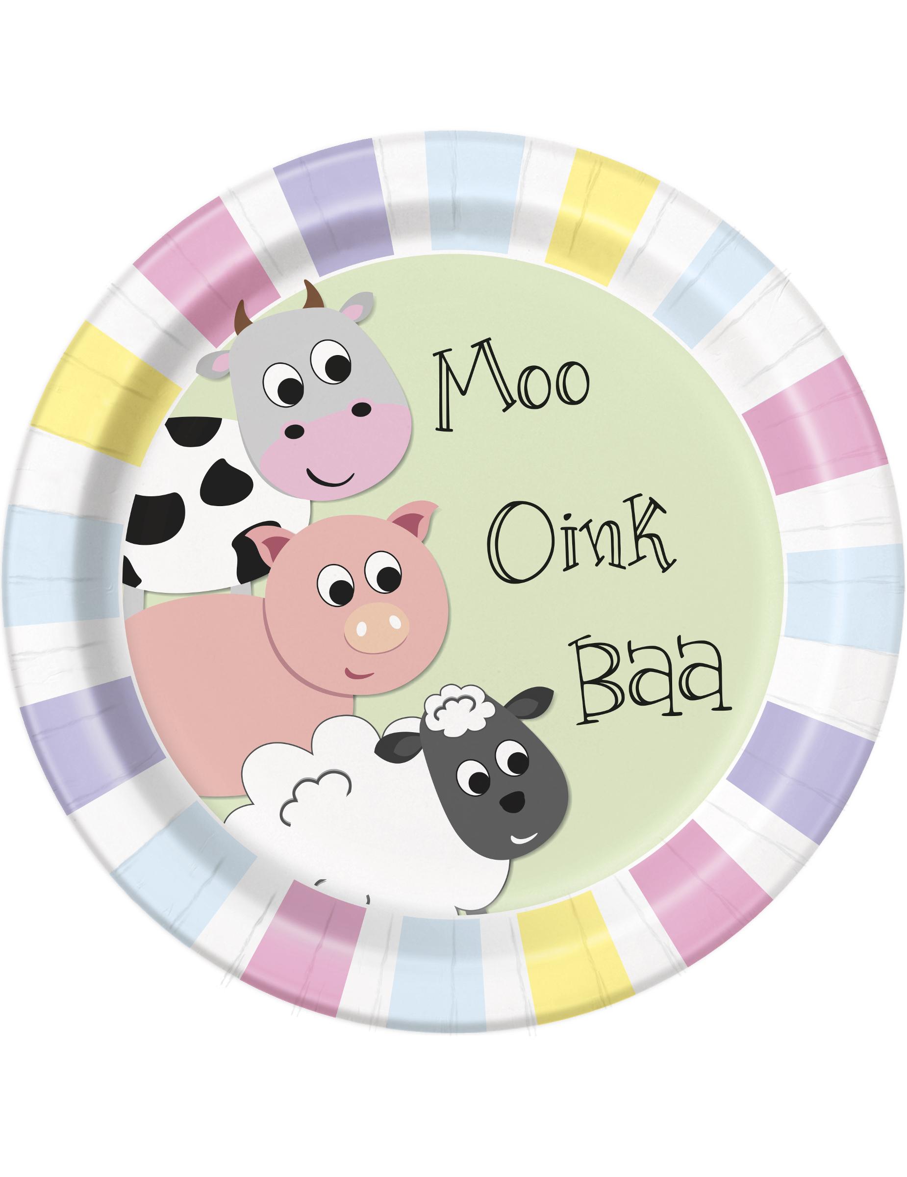 Piatti di cartone animali della fattoria cm su