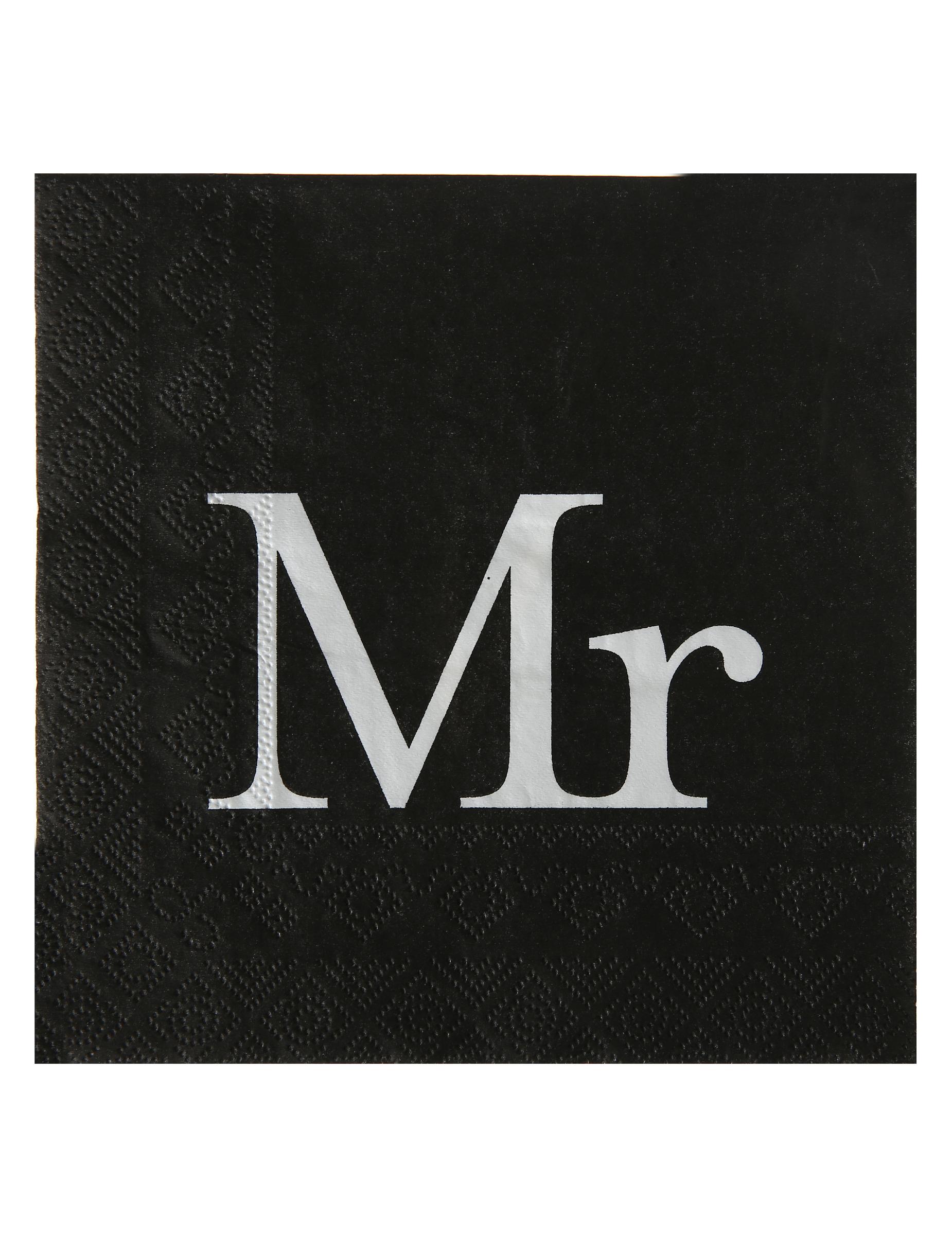 20 tovaglioli di carta neri e bianchi mr su vegaooparty - Piatti bianchi e neri ...