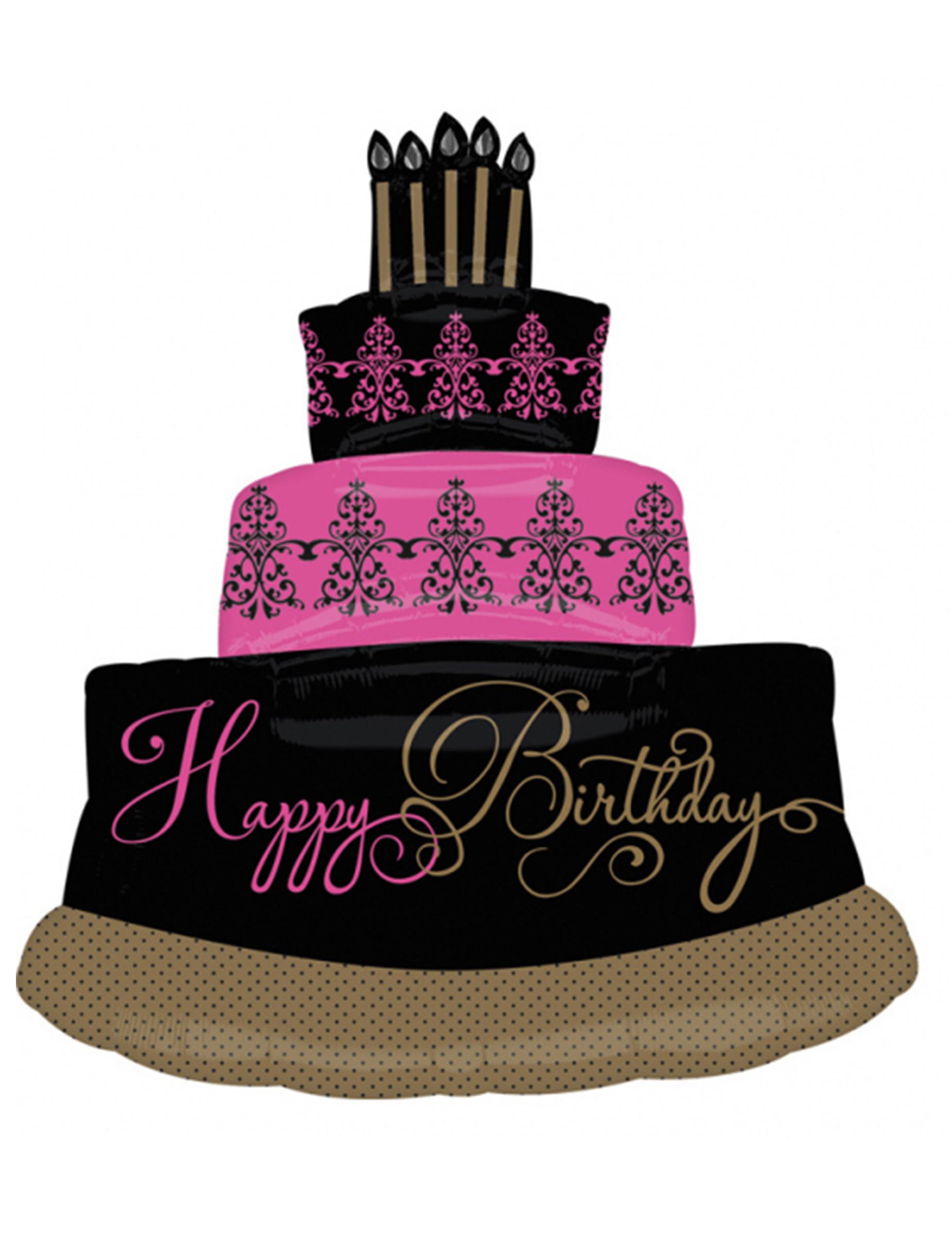 Palloncino alluminio torta di compleanno fucsia e nero