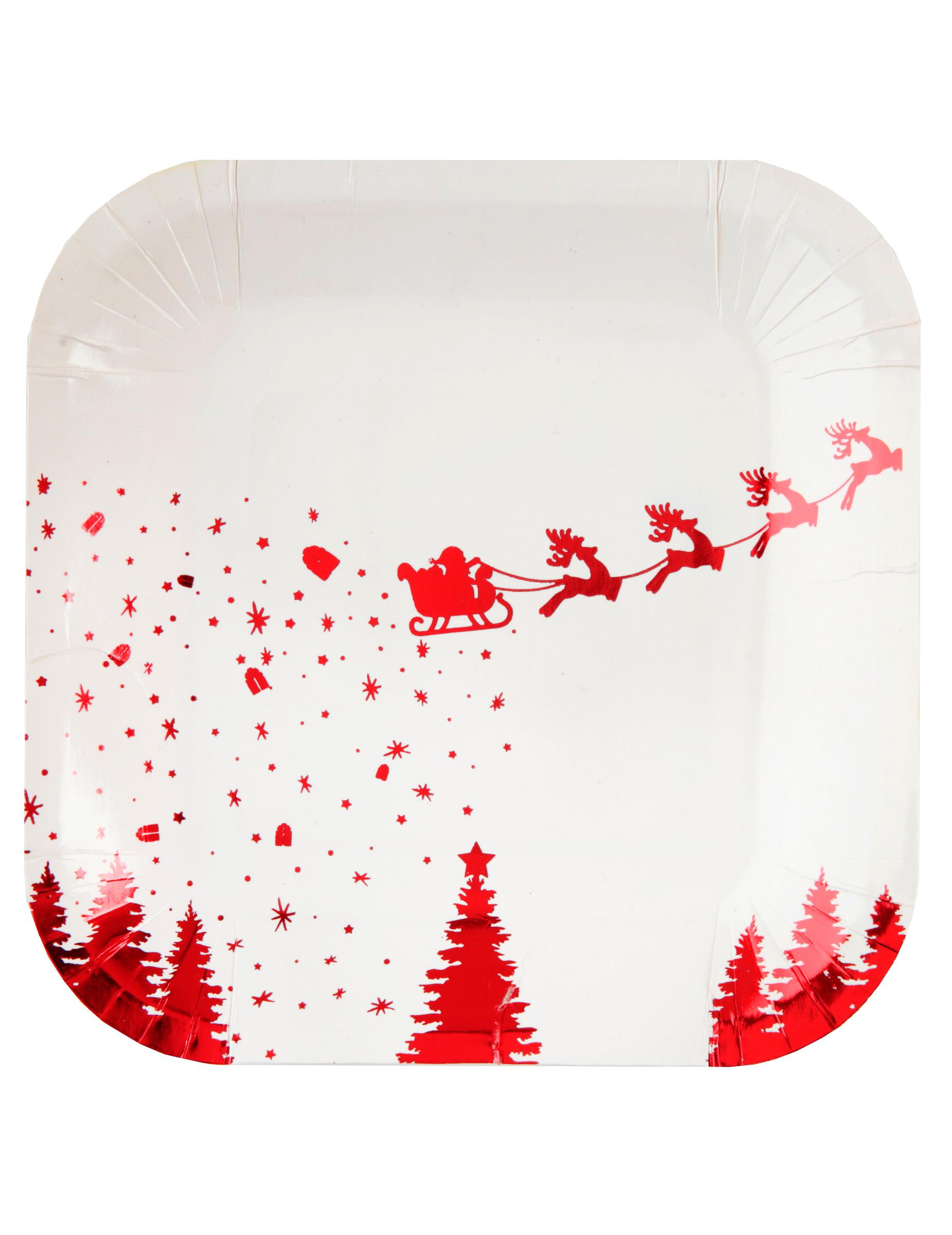 Slitta Di Babbo Natale Fai Da Te.10 Piattini In Cartone Slitta Di Babbo Natale Bianco E Rosso 18 Cm
