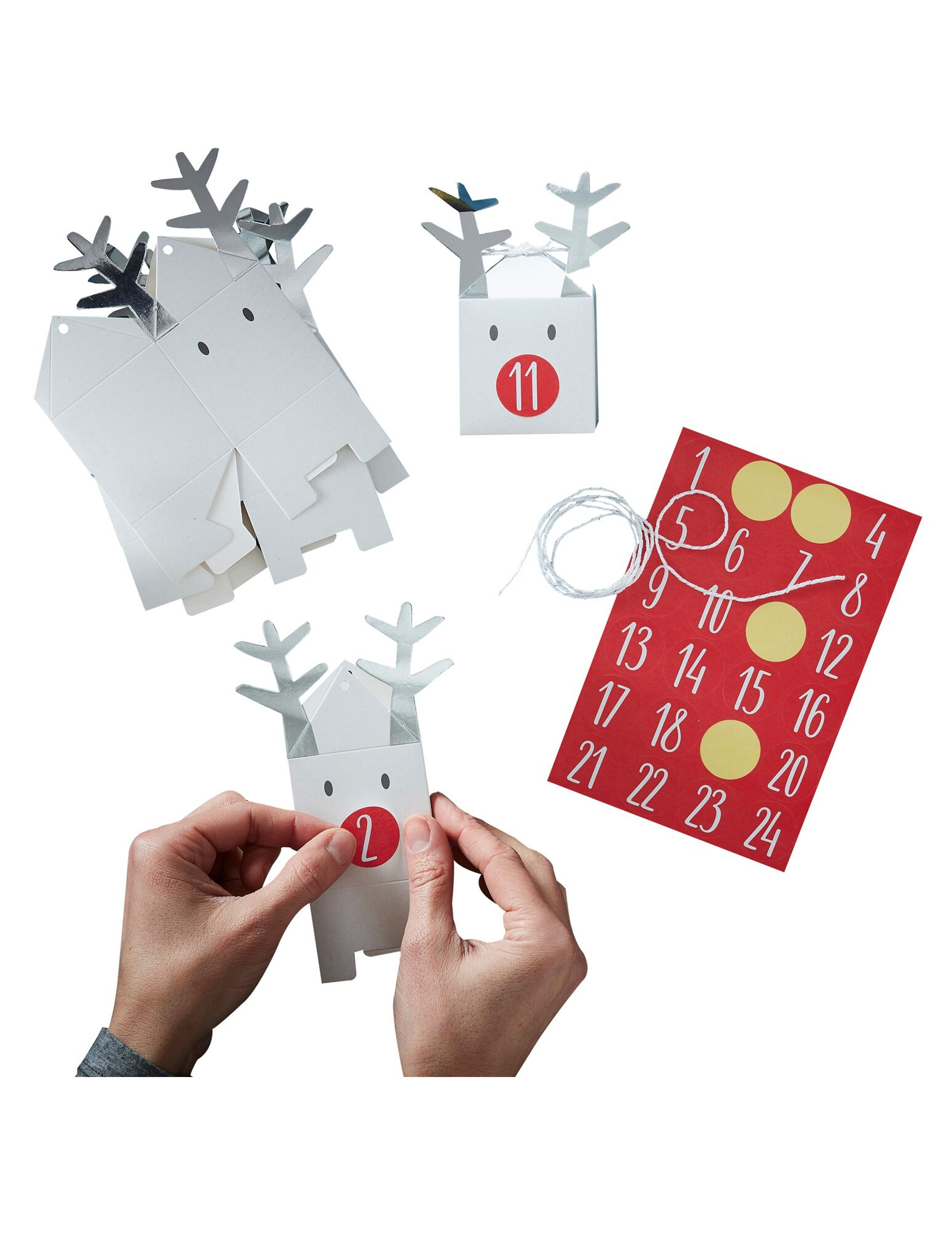 Come Creare Una Renna Luminosa kit calendario dell'avvento personalizzabile renne bianche su vegaooparty,  negozio di articoli per feste