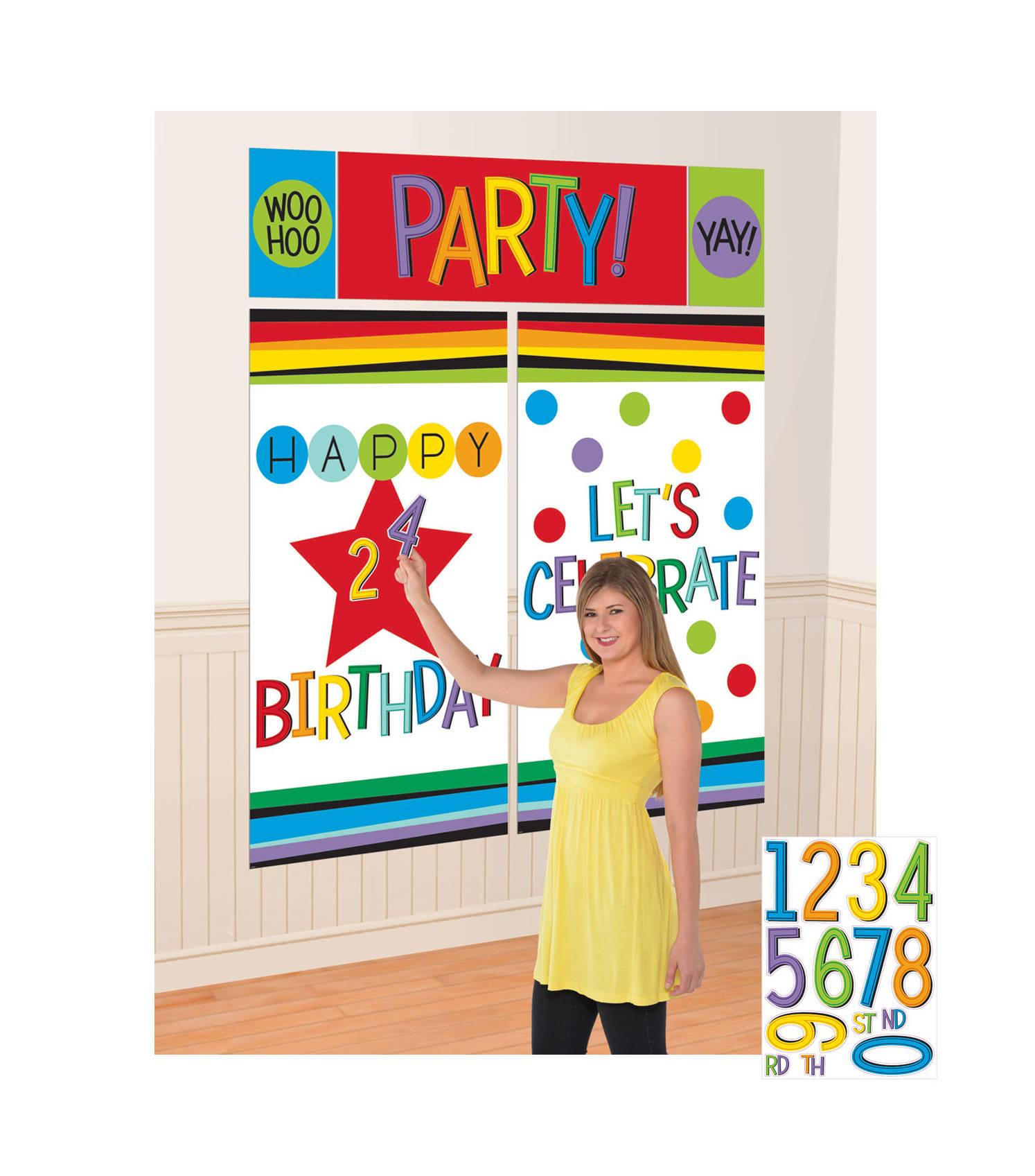 Kit decorazioni per parete compleanno colorate su for Decorazioni a parete