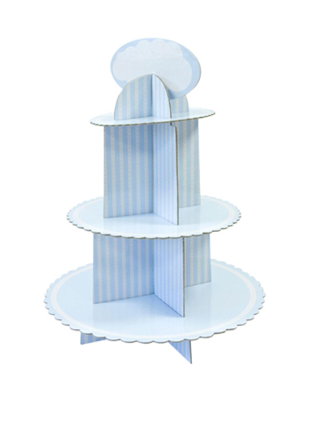 Alzatina in cartone per cupcakes blu e bianca su ...