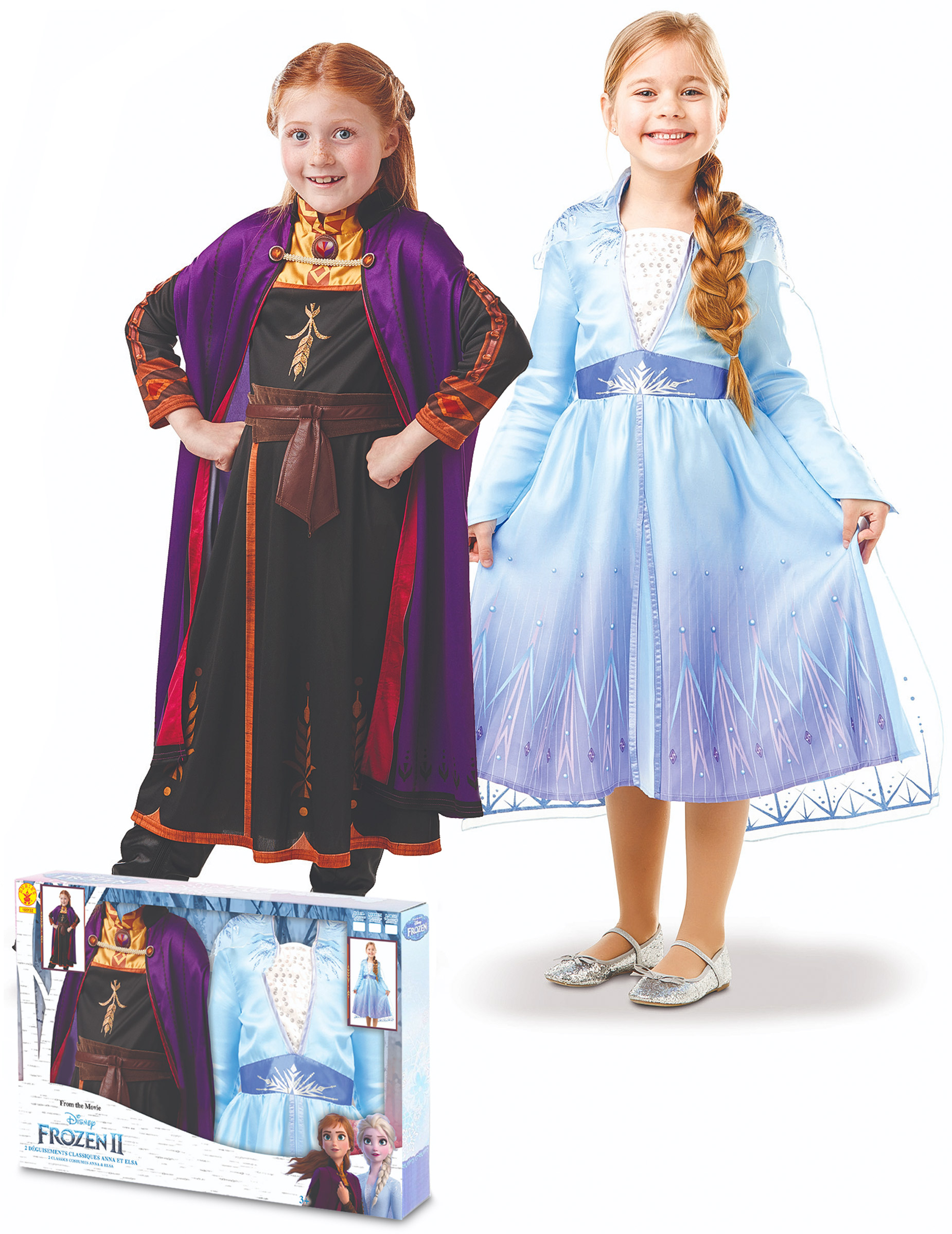 Bambini Costume Mantello e Maschera Frozen Principesse Anna Elsa Costume