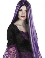 Parrucca lunga e liscia nera e viola