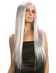 Parrucca grigia lunga da donna Halloween