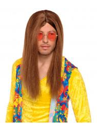 Parrucca hippy castana per adulti