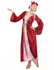 Costume da donna regina medievale rosso