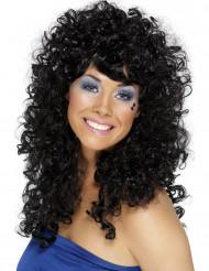 Parrucca riccia e nera da donna