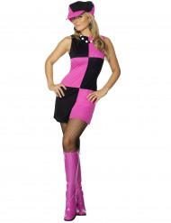 Costume disco quadri rosa e neri donna