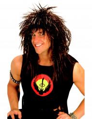 Parrucca rock star castana per adulto