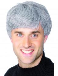 Parrucca grigia corta da uomo