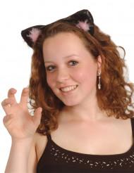 Orecchie da gatto nere e rosa