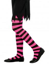Collant a righe rosa e nere per bambina