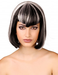 Parrucca caschetto nero e bianco da donna