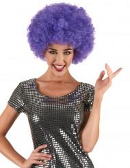 Parrucca riccia viola voluminosa per adulti