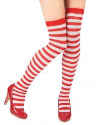 Paio di calze a righe bianche e rosse