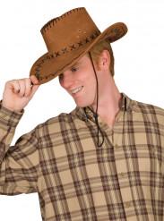 Cappello da cowboy marrone per adulto