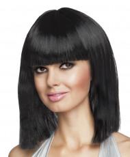 Parrucca caschetto lungo nero per donna