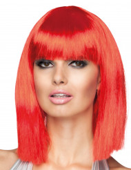 Parrucca caschetto lungo rosso per donna