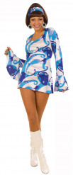 Costume stile disco blu e bianco da donna