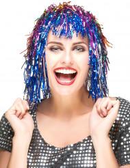 Parrucca adulti tricolore metallizzata