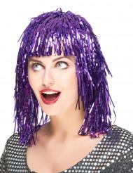 Parrucca metallica viola per adulti
