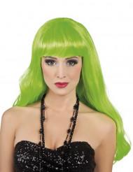 Parrucca lunga verde fluo per donna