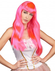 Parrucca lunga rosa fluo per donna