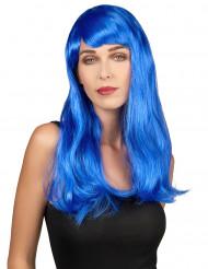 Parrucca dai lunghi capelli blu per donna