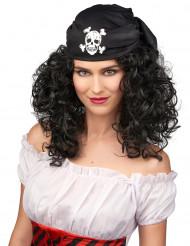 Parrucca nera riccia da donna pirata