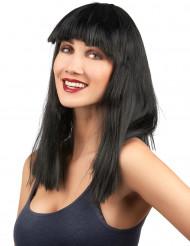 Parrucca bruna e liscia con frangia