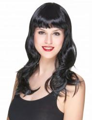 Parrucca nera con frangia da donna