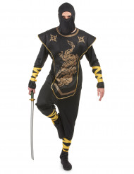 Costume nero e dorato ninja adulto